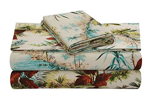 Tribeca Living PARAISL4PSSQU Extra Deep Pocket Sheet Set, Queen, Paradise Island Multi