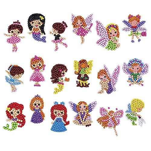 Juego de 18 pegatinas de pintura de diamantes 5D para manualidades con dibujos animados para niños y adultos principiantes (estilo 2)