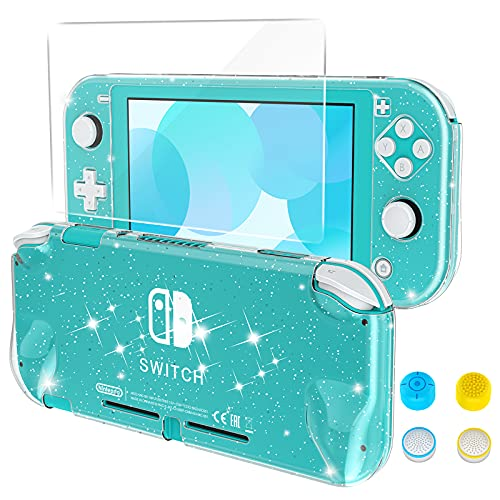 HEYSTOP Case Compatible with Nintendo Switch Lite, with Tempered Glass Screen Protector and 4 Thumb Grip, Front and Back, All-Round Protective case (Clear)