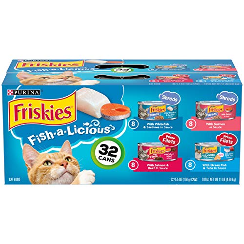Purina Friskies Wet Cat Food Variety Pack, Fish-A-Licious Shreds, Prime Filets &...