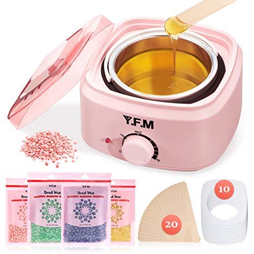 Y.F.M Wachswärmer Wachs Haarentfernung, Wachsmaschine Set Wax Warmer Heater Waxing Kit Wachserhitzer, Wax Enthaarung Set mit 20* Holzspateln, 10* Anti-Fleckenring, 4 * 100g Wachsbohne Pink