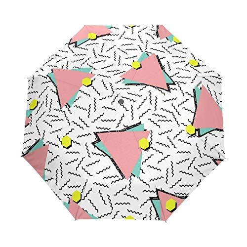 Suzanne Betty Regenschirm, automatisches Öffnen und Schließen, Retro-Stil, blaue Dreiecke, Memphis Punkte, winddicht, kompakt, faltbar