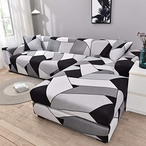 PPMP Funda de sofá geométrica Flexible para Sala de Estar Funda de sofá con Todo Incluido combinación de sofá Modular de Esquina en Forma de L A4 2 plazas