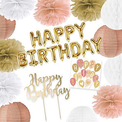 in due Deko Set Happy Birthday Apricot Gold – Pompoms, Folienballons, Kuchenstecker & Servietten