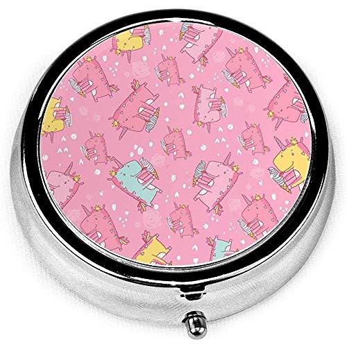 Kleurrijke eenhoorn, de ijs isstvitamine geneeskunde ronde pille case, portemonnee tas pillendoos organizer met 3 vakken