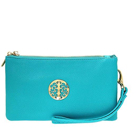 Long & Son 3141 - Pochette da donna, con tracolla, da polso, a tracolla, colore: verde e blu