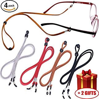 Eyeglass Holder Chain [Pack of 4 + Bonuses] Premium Leather Eyewear Retainer - Womens Mens Sunglasses Eyeglasses Strap for Sports Travelers Drivers - Safety Glasses Strap - Never Lose Glasses Again