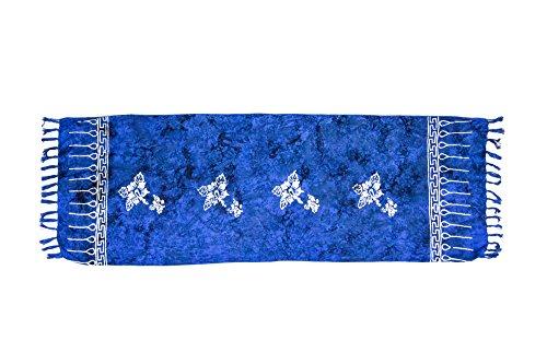MANUMAR Damen Sarong Blickdicht als Mini-Rock (155x55cm)   Kinder Pareo Strandtuch mit Schnalle   Leichtes Wickeltuch in Königs-Blau mit Hibiscus-Motiv mit Fransen/Quasten für Kinder   Bikini   Bali