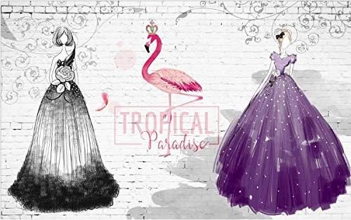 Papel tapiz Vestido morado negro imagen de belleza tienda de ropa sastrería mall square wedding shop poster mural-430cmx300cm(LxA)