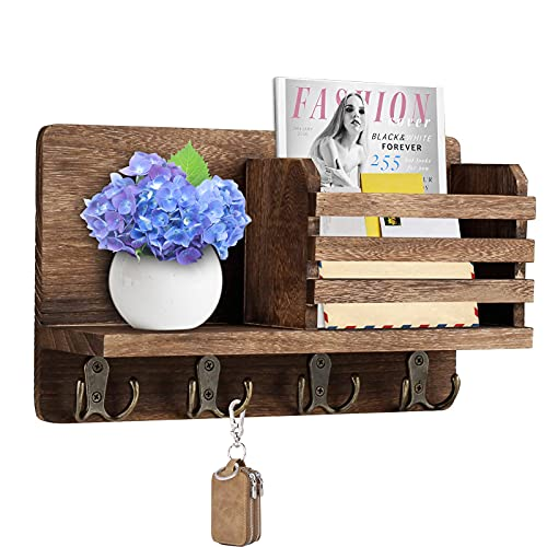 Y&ME YM Mail Organizer Wall Mounted, Rustic Key Hangers and Mail Sorter, Wood Decorative Mail Shelf with 4 Hooks, Key Holder for Wall, Wooden Key and Mail Holder for Wall Decorative (Rustic Brown)