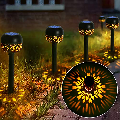 Rilitor Solar Pathway Lights Outdoor, Solar Powered Garden Lights 4 Packs, Waterproof Led Path Lights for Patio, Lawn, Yard, Landscape (Warm White)