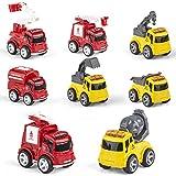 Reibungsbetriebene Spielzeugauto,8pcs Spielzeugauto aus Metall Set,4pcs Feuerwehrauto und 4pcs Technisches Fahrzeug.Kinderspielzeugfahrzeuge ziehen Auto zurück,für 3-6 Jahren, Junge,Mädchen, Kinder