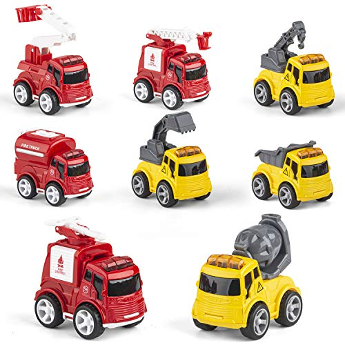 LADUO Metal Friction Powered Cars Push and Go 8 Pack Die Cast Toy Cars Set 4pcs fire Truck and 4pcs Engineering VehicleKids Toys Vehicles Pull Back Car for Aged 36 Year Boys Girls Kids