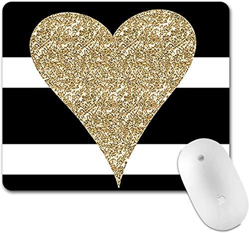 Gardesse Mauspad Schwarz barsGold Glitter Love Mousepad Runder Kunstdruck Komfortable Gummibasis...