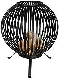 Rivanto Feuerball mit Streifen, Ø 59,2 x 73,5 cm lasergeschnittenes Carbonstahl, Feuerschale, attraktive Gartendekoration, Lagerfeuer, schwarz