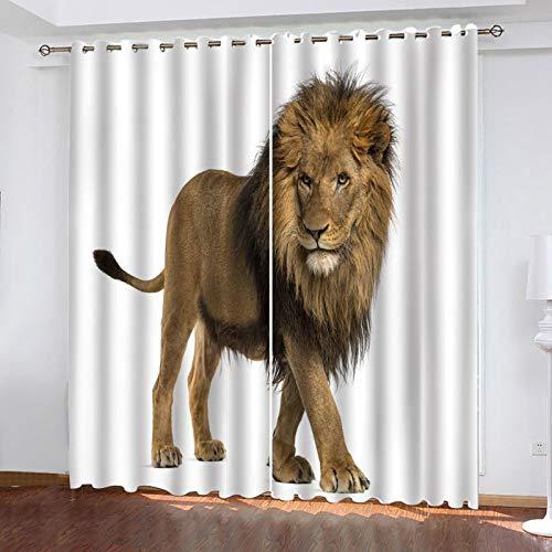 ZXPAG 3D Cortina Opaca Con Ojales Cortinas Térmicas Aislantes Decoración Ventanas - Impresión Digital Cocina De Dormitorio De La Sala De Estar - 280X200Cm - León Animal Africano