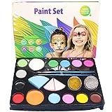 BUNRUN Kit de Peinture de Visage, Visage de Corps Professionnel, 14 Couleurs 2 Autocollants de Paillettes pour Le Maquillage de fête de Cosplay de Vacances de Pâques
