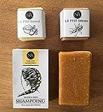 Shampoing Solide Bio tous types de cheveux + 2 savonnettes corps et visage fabriqués à la main en France