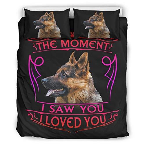 wbinshey Colcha edredón con diseño de pastor alemán The Moment I Saw You I Love You Dog Categorías patrón europeo color negro decorativo cama almohada blanco 66 x 90 pulgadas