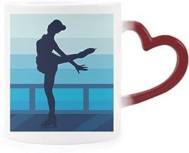 Female Skating Winter Sport Illustration Heat Sensitive Mug Red Color Changing Stoneware Cup