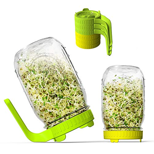Sprouting Lids, 6 Pack Sprout lids for Wide Mouth Mason Jars for Growing Bean Sprouts, Broccoli, Alfalfa, Salad Sprouts