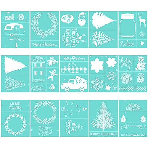 YeulionCraft Christmas Theme Self-Adhesive Silk Screen Printing Stencil, Reusable Sign Stencils for Painting on Wood, DIY Decoration T-Shirt Fabric, 15PCS