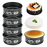 4.5 Inch Mini Springform Pan, Set of 5 With 100pcs Wax Paper, Small Nonstick Cake Pan for Mini Cheesecakes, Pizzas and Quiches