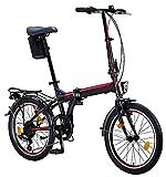Licorne Bike Conseres 20 Zoll-Faltrad-Klapprad (Schwarz/Rot)...