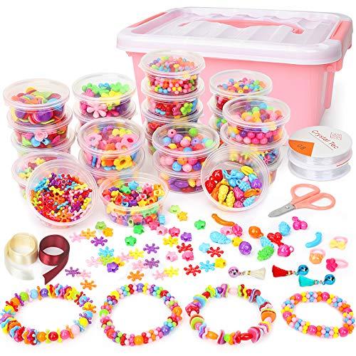 Sanlebi Bambini Perline, 2000 PCS Perline Colorate Kit Braccialetti Bambini Kit Gioielli Fai-da-Te Creativi con Scatola per Ragazze