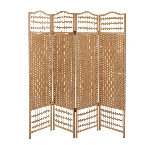 4 Panel Beige Wood Woven Design Decorative Partition Folding Screen/Privacy Room Divider – MyGift