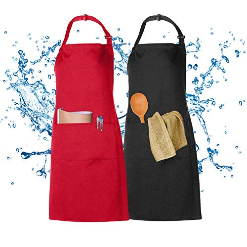2 Pezzi Grembiule Cucina, XCOZU Grembiule Cucina Uomo Donna Rosso Nero Grembiule con 2 Tasche, Grembiule Chef da Barbecue, Bar, Cameriera, Cuoco, Grembiule Cucina Professionale Regolabile