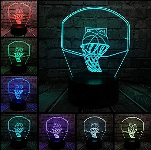 Basketbal Sport Donker een mand 3D-lamp nachtlicht LED-licht mulitcolor Kerstmis Decora Luminaria Kinderjongens cadeau