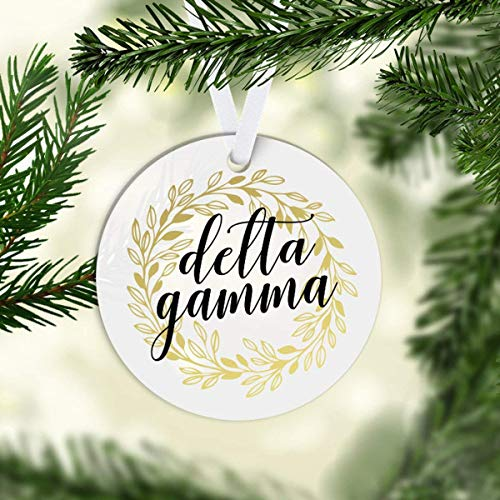 Yilooom Christmas Tree Decor Gift Idea, Dg Delta Gamma Gold Wreath Christmas Ornament Greek Sorority Life