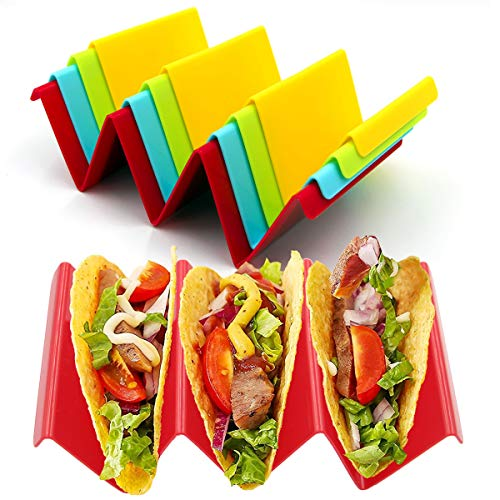 Taco Holder Stands Set of 4,Colorful Taco Rack Holders,Premium Large Taco Tray Plates Holds Up to 3 or 2 Tacos Each,PP Health Material Very Hard and Sturdy, Dishwasher & Microwave Safe