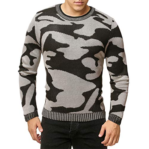 XWLY Men Knitted Sweater Men Sweater Slim Fit Camouflage Round Neck Fashion Casual Long Sleeve Spring Autumn Elegant Gentleman Keep Warm Comfortable Men's Pullovers Gray. M