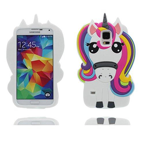 Desconocido Carcasa Samsung Galaxy S5, 3D Cartoon Unicornio Cover Samsung Galaxy S5 Funda Case, TPU Flexible Resistente a los arañazos Deslizamiento Polvo-Unicorn