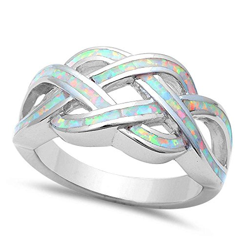 CloseoutWarehouse Simulated White Opal Celtic Knot Design Ring Sterling Silver Size 12