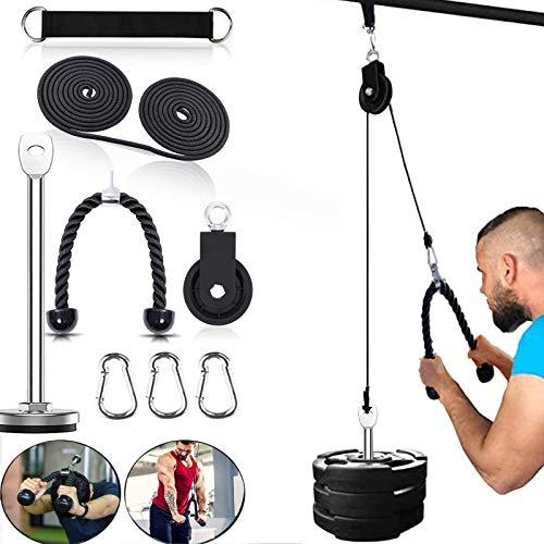 Seilzug Fitness LAT Lift Flaschenzugsystem Professionelle Seilzugmaschine Muskelkraft Fitnessgeräte für Bizeps Curl, Unterarm, Trizeps - Home Gym Ausrüstung(Gebogen)
