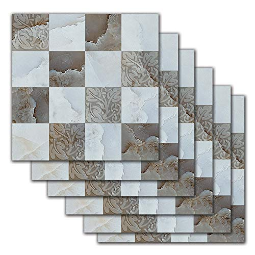 DNVEN 7.8 inches x 7.8 inches 6pc Tile Stickers Kitchen Grey Marble Style Backsplash Bathroom Vinyl Waterproof Peel and Stick Decals