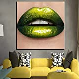 ZDFDC Maquillaje de Belleza Sexy Green Lip Gloss Impresión en Lienzo Pintura Carteles e Impresiones Wall Art Picture for Living Room Wall Decor-60x60cmx1 sin Marco