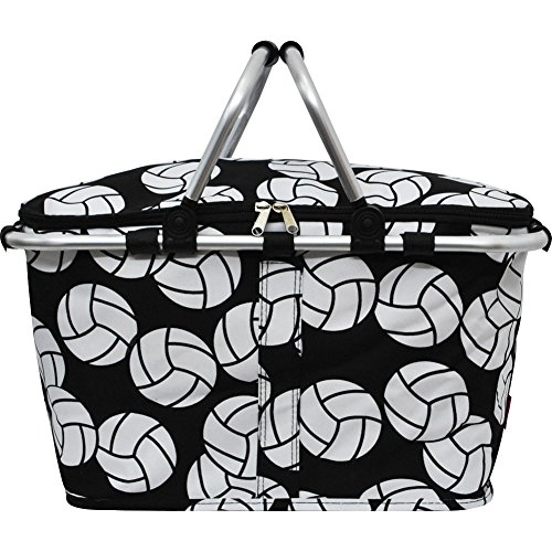 Volleyball Print Insulated Picnic Basket Bag