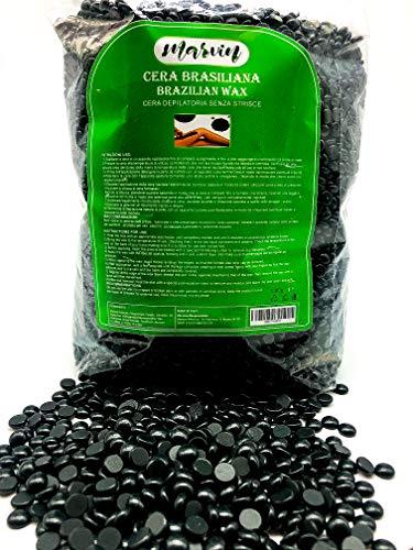 Marvin Ceretta Brasiliana black, 1kg Cera Depilatoria a Caldo Professionale per Uomo e Donna,Cera senza strisce, Black Waxing per Depilazione Indolore