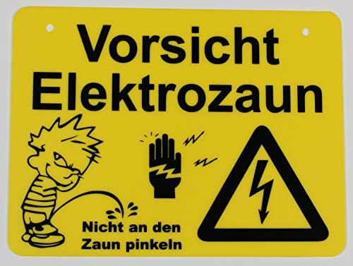 Vorsicht Elektrozaun   Achtung Hochspannung   Vorsicht Lebensgefahr   Hinweisschild (Elektrozaun)