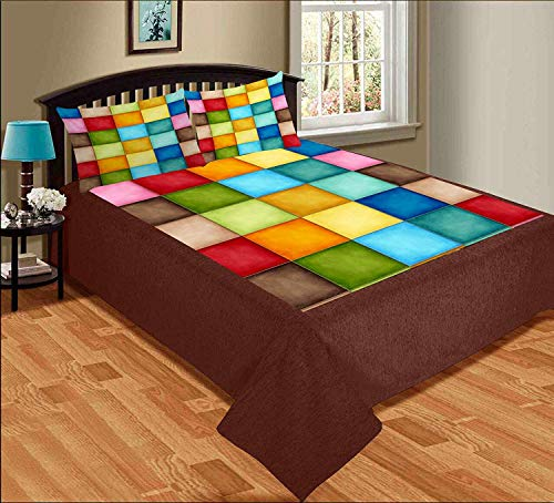 Delight Zone 300TC King Size Digital Printed Velvet Double Bedsheet with 2 Pillow Covers (Multicolour, 95 x 105 Inch)