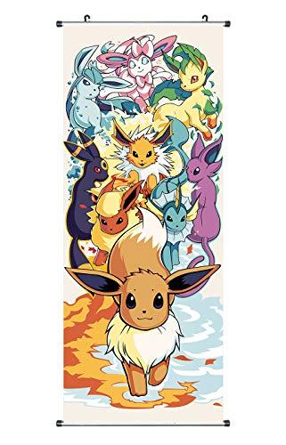 CosplayStudio Großes Pokemon Rollbild/Kakemono Poster aus Stoff, 100x40cm, Motiv: Evoli