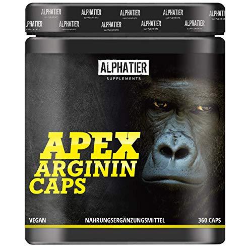 L-ARGININ BASE Capsules hoge dosering - 99% zuiver ALPHATIER Arginine 360 Caps zonder magnesiumstearaat - pompeffect - premium kwaliteit - hoogste zuiverheid - Supplement