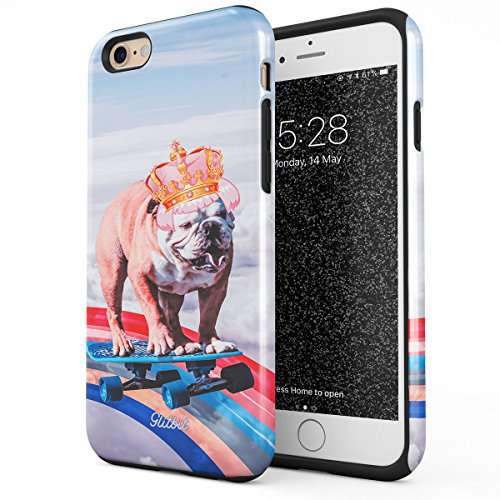 Glitbit Compatible with iPhone 6 iPhone 6s Case French Bulldog Flying Rainbow Dog Trippy Laser Unicorn Doggo Paw for Dog Lover Heavy Duty Shockproof Dual Layer Hard Shell + Silicone Protective Cover