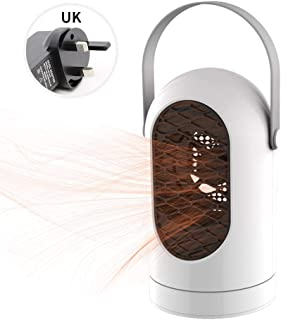 RENXR Estufa Eléctrica Portátil con Manija, Calentador De Ventilador, Protección contra Sobrecalentamiento, Ventilador De Mesa Calefactor para Hogar De Oficina,Blanco