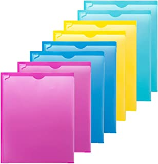 MAKHISTORY Plastic 2 Pocket Folders with Clear Front Pocket - 8 Pack, Heavy Duty 3 Prong Folders for Letter Size Paper, Assorted Colors