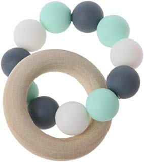 JUANLIAN Baby Nursing Bracelets Wooden Teether Silicone Chew Beads Teething Rattles Toys Teether Montessori Bracelets
